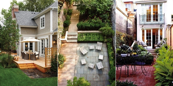 Inspiration! Image 1, stone patio leading off deck. Image 2, grey stones and gardens. Image 3, urban oasis (links below)